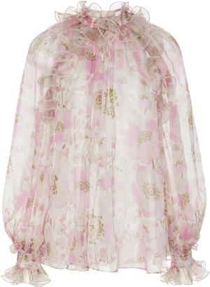 Zimmermann Ruffled Floral-Print Silk-Chiffon Blouse