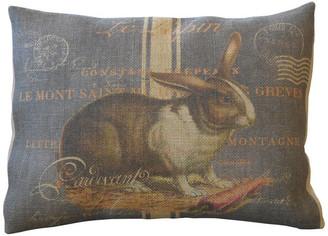 "Polkadot Apple Pillows Chalkboard Rabbit Burlap Pillow, 12""x16"""