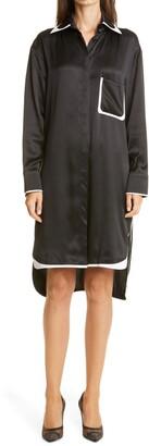 Fendi Long Sleeve Silk & Leather Shirtdress