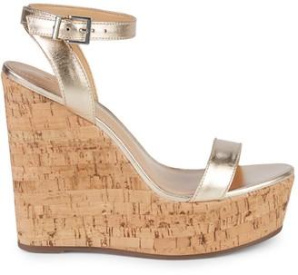 Schutz Metallic Cork Wedge Sandals
