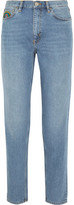 MiH Jeans Linda Embroidered High-Rise Straight-Leg Jeans
