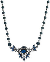 2028 Silver-Tone Blue Crystal Floral Necklace