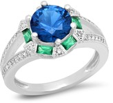 Simulated Diamond, Lab Created Blue Spinel, & Nano Emerald Ring