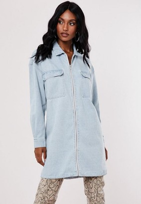 Missguided Blue Zip Through Utility Denim Shirt Dress