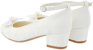 Monsoon Girls Lara Shimmer Lace Ivory Shoe - Ivory