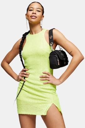 Topshop Womens Lime Green Racer Sequin Mini Dress - Lime