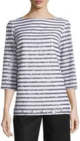 MICHAEL Michael Kors Sequined Stripe 3/4-Sleeve Tunic, White/Black