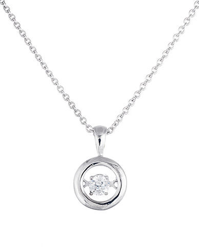 Lord & Taylor Sterling Silver and Cubic Zirconia Round Pendant Necklace