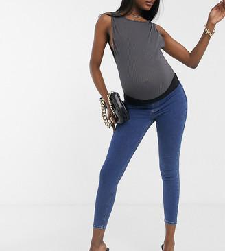 Topshop Maternity Joni underbump skinny jeans in mid wash-Blue