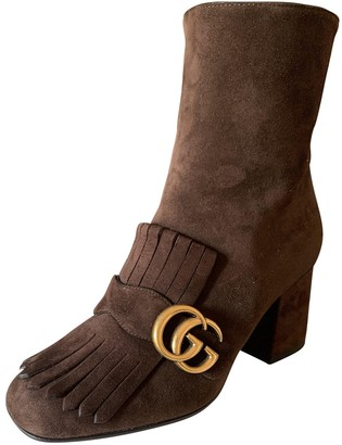 Gucci Marmont Brown Suede Ankle boots