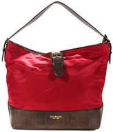 Isaac Mizrahi Red Brown Gold Tone Zipper Closure Spacious Large Tote Handbag
