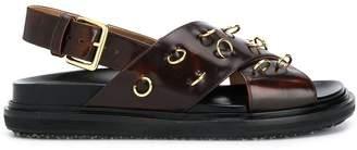 Marni pierced crossover strap sandals