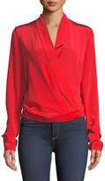 Diane von Furstenberg Crossover Long-Sleeve Silk Blouse