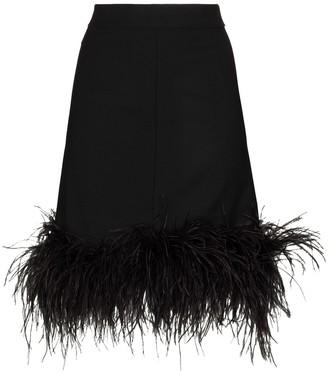 Taller Marmo Feather Trim High-Waist Skirt