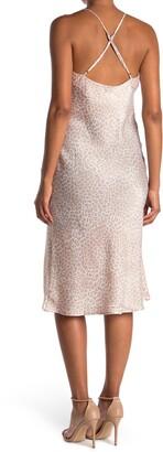 Love Stitch Leopard Cowl Neck Slip Dress