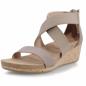 Shoeslocker Women's Wedge Sandals Platform Sandals Open Toe Cork Elastic Ankle Strap Sandals Brown Size 6