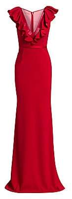 Gustavo Cadile Women's Plunge V-Neck Ruffle Gown