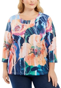 Alfred Dunner Plus Size Road Trip Printed Embellished 3/4-Sleeve Top