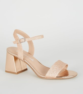 New Look Glitter lic Flared Low Block Heels