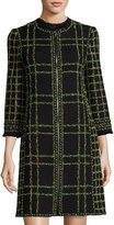Andrew Gn Zip-Front Garden Tweed Coat