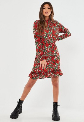 Missguided Tall Red Floral High Neck Drop Waist Smock Dress