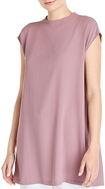 Eileen Fisher Silk Funnel Neck Tunic Top