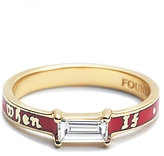 Foundrae If Not Now Then When Diamond Baguette Band Ring - Red Champlevé Enamel