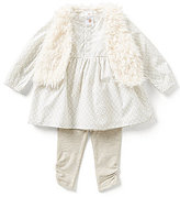 Starting Out Baby Girls 3-24 Months 3-Piece Faux-Fur Vest, Geometric Top, and Leggings Set