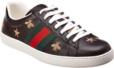 Gucci Ace Embroidered Bee Leather Sneaker