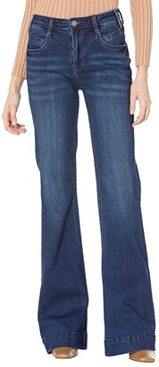 Rock and Roll Cowgirl High-Rise Trousers in Dark Wash W8H7506