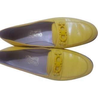 Salvatore Ferragamo Yellow Crocodile Flats