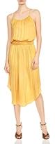Halston Shirred Satin Midi Dress