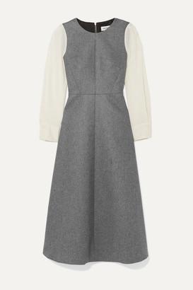 Cefinn Tilda Two-tone Wool-blend Midi Dress