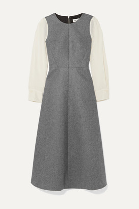 Cefinn Tilda Two-tone Wool-blend Midi Dress