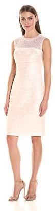 London Times Women's Sleeveless Round Sheath Dress w. Beaded Neck