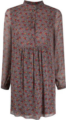 Yves Saint Laurent Pre Owned Floral Long-Sleeved Mini Dress