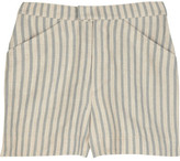High-waisted striped linen shorts
