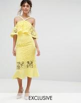 Jarlo Frill Layer Cold Shoulder Lace Midi Dress