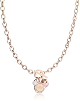 Rebecca Hollywood Stone Rose Gold Over Bronze Chain Necklace w/Hydrothermal Pink Stone and Glass Pearl