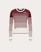 Valentino Signature Cashmere Wool Sweater With Degrade Stripes Women Ivory/black Virgin Wool 70%, Cashmere 30% M