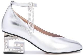 Gucci metallic G block heel pumps