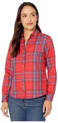 Foxcroft Petite Wrinkle Free Diane Emerson Tartan Shirt (Christmas Red) Women's Clothing
