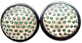 Michele Della Valle 18K White Gold Onyx Emerald Earrings