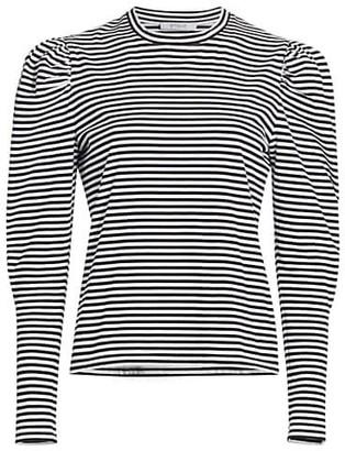Derek Lam 10 Crosby Jaden Stripe Puff-Sleeve Top