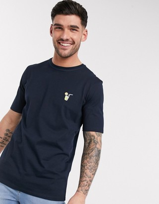 Selected t-shirt with embroidered chest logo in navy