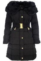 Quiz Black Padded Big Faux Fur Collar Jacket