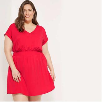 Joe Fresh Women+ Smocked Waist Dress, Olive (Size 1X)