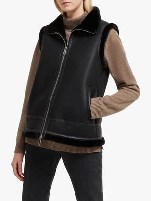 French Connection Dafine Faux Fur Gilet, Black
