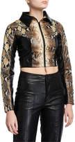 I.AM.GIA Alabama Faux-Leather Cropped Snake Jacket
