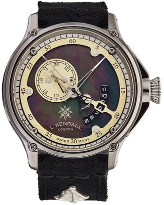 L. Kendall Men's K7-001A 'K7' Black Mother of Pearl Dial Black Leather Strap 3 Hand Dual Time Swiss Automatic Watch